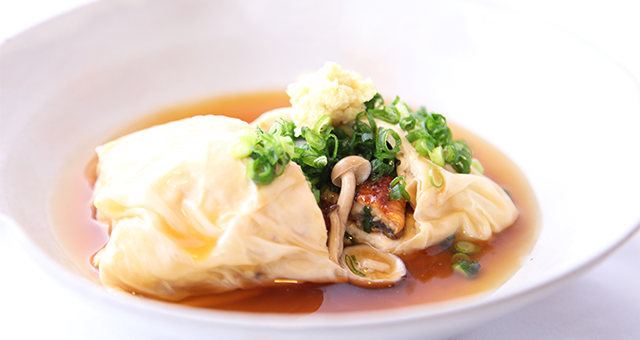 鰻蒲焼きと豆腐の生ゆば包み